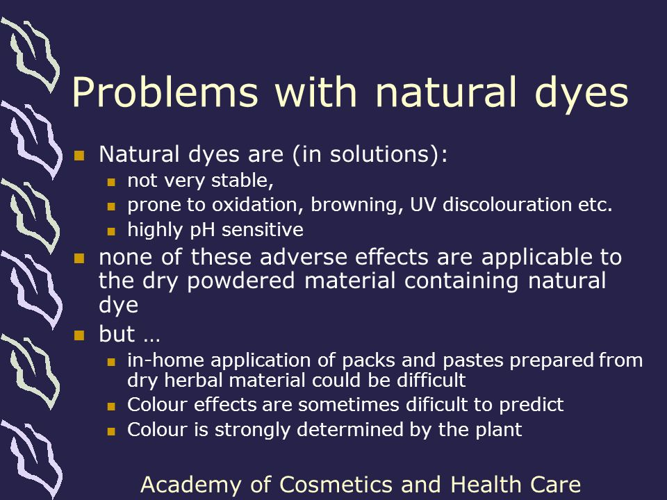 Problems with natural dyes