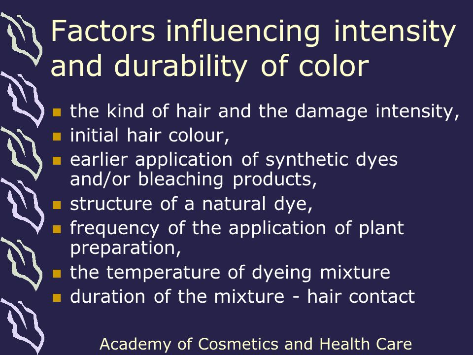 Factors influencing intensity and durability of color
