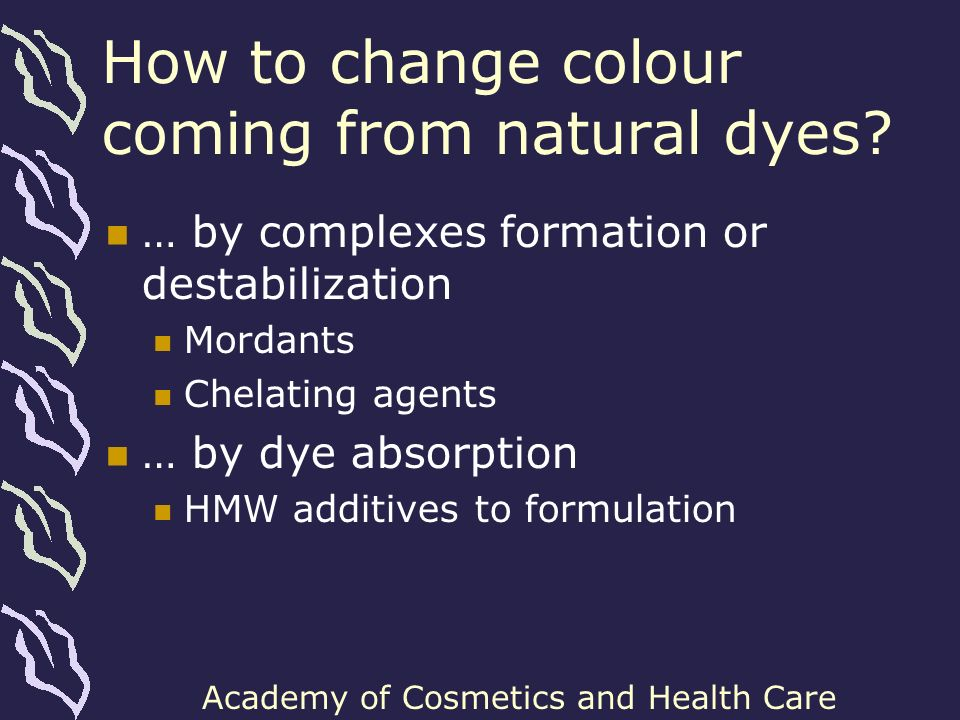 How to change colour coming from natural dyes