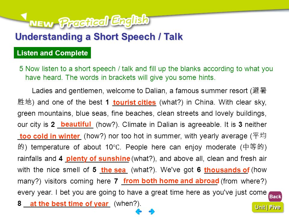 Understanding a Short Speech / Talk