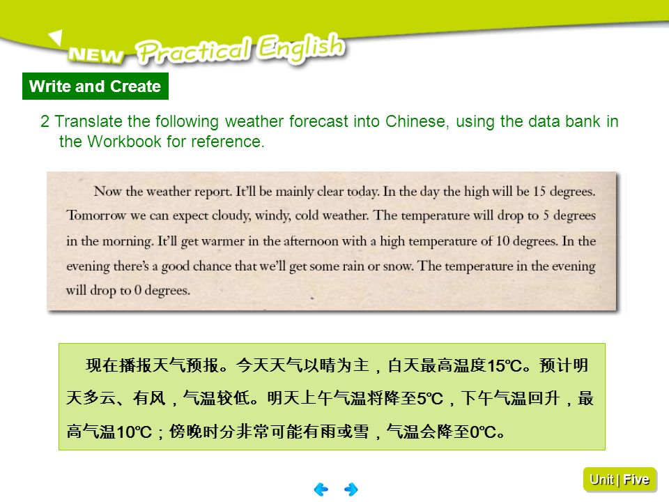 Write and Create 2 Translate the following weather forecast into Chinese, using the data bank in. the Workbook for reference.