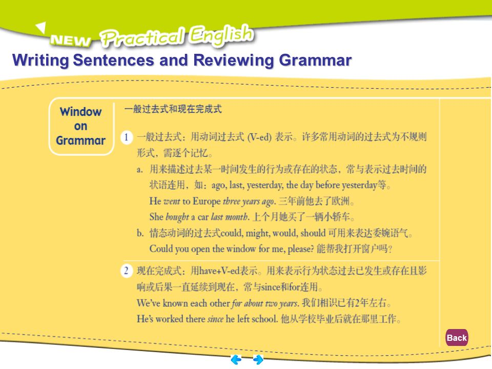 Writing Sentences and Reviewing Grammar