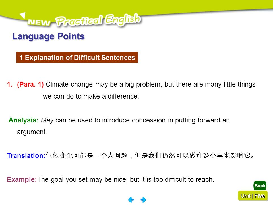 Language Points 1 Explanation of Difficult Sentences