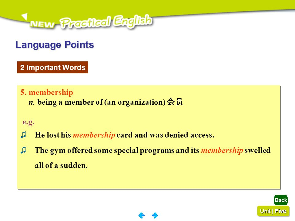 Language Points 5. membership