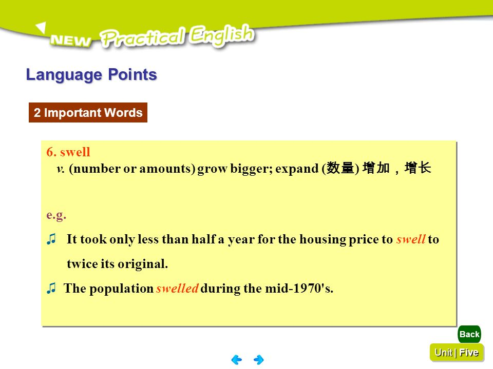 Language Points 2 Important Words. 6. swell. v. (number or amounts) grow bigger; expand (数量) 增加,增长.