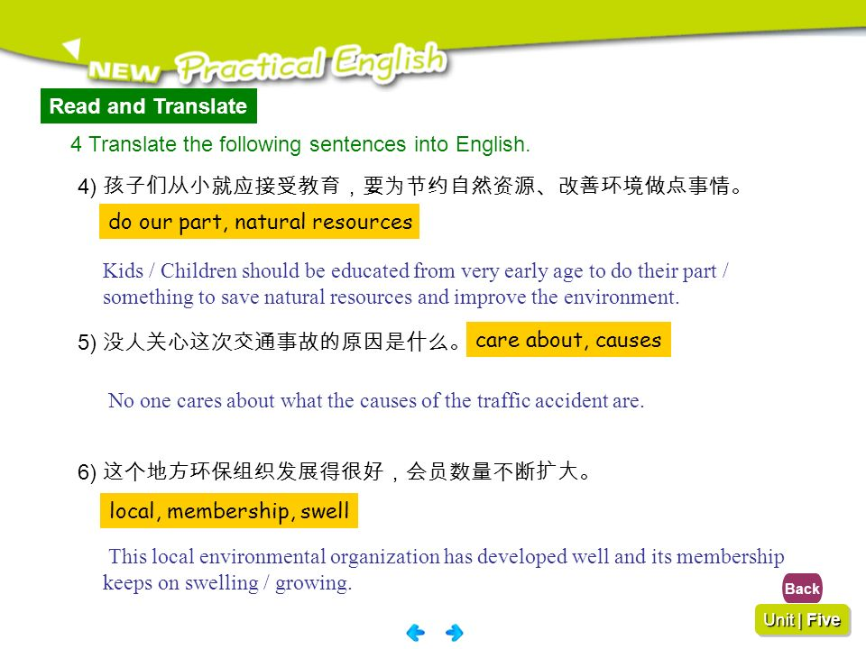4 Translate the following sentences into English.