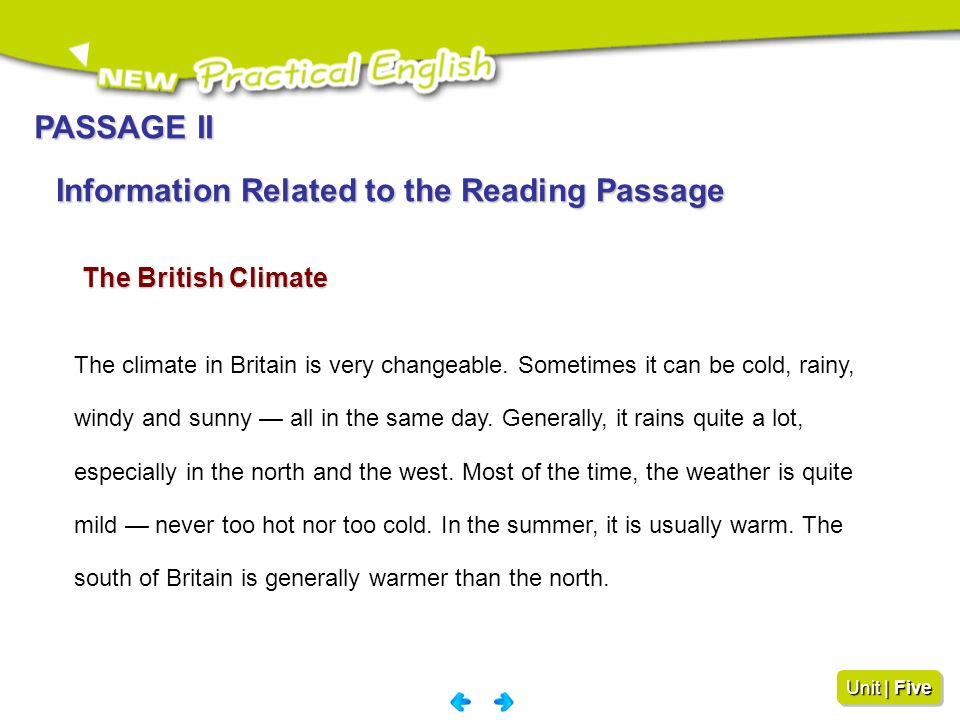 Information Related to the Reading Passage