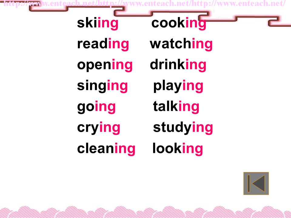 skiing cooking reading watching opening drinking singing playing going talking