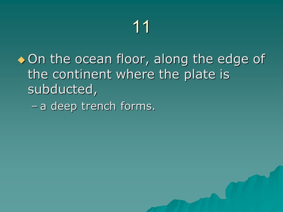 11 On the ocean floor, along the edge of the continent where the plate is subducted, a deep trench forms.