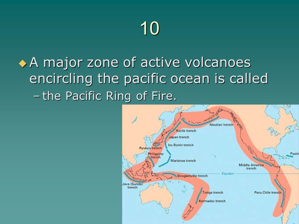 10 A major zone of active volcanoes encircling the pacific ocean is called.