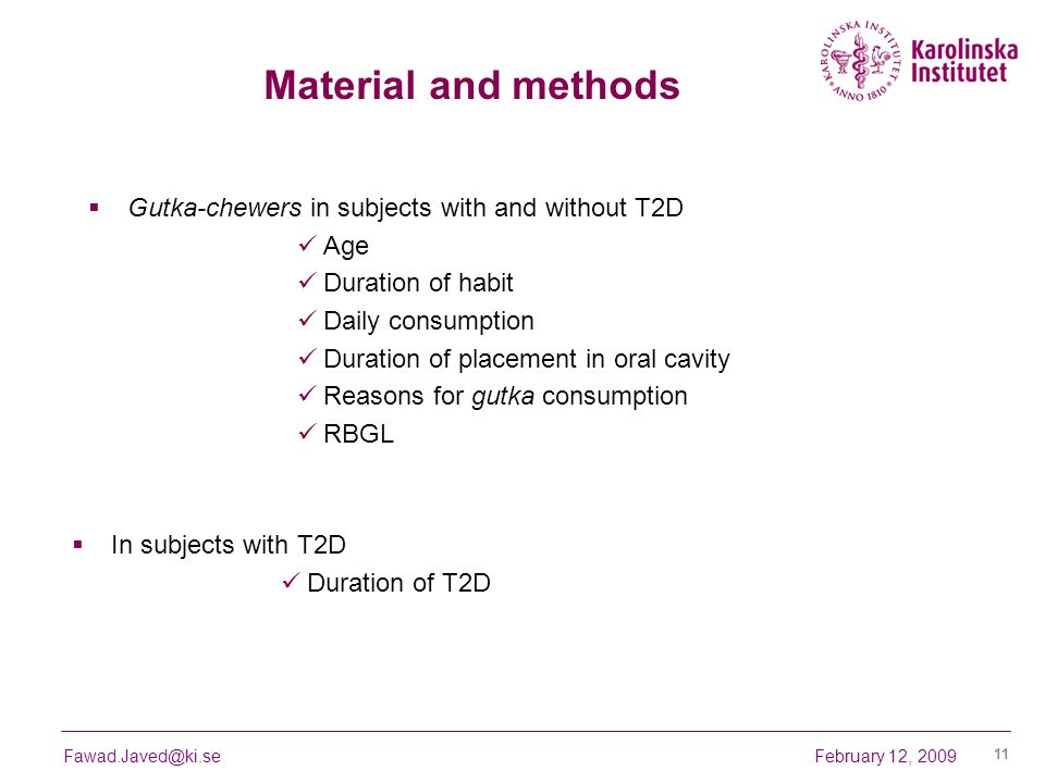 Material and methods Gutka-chewers in subjects with and without T2D