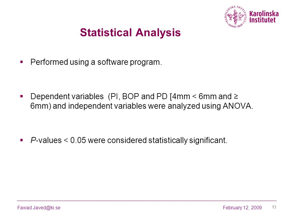 Statistical Analysis Performed using a software program.