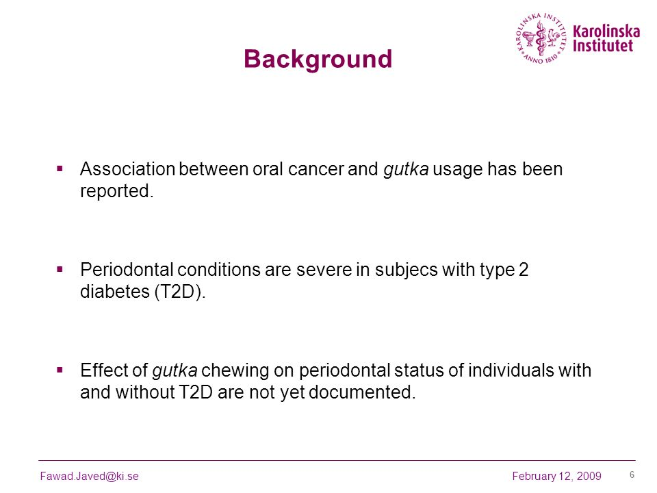 BackgroundAssociation between oral cancer and gutka usage has been reported.
