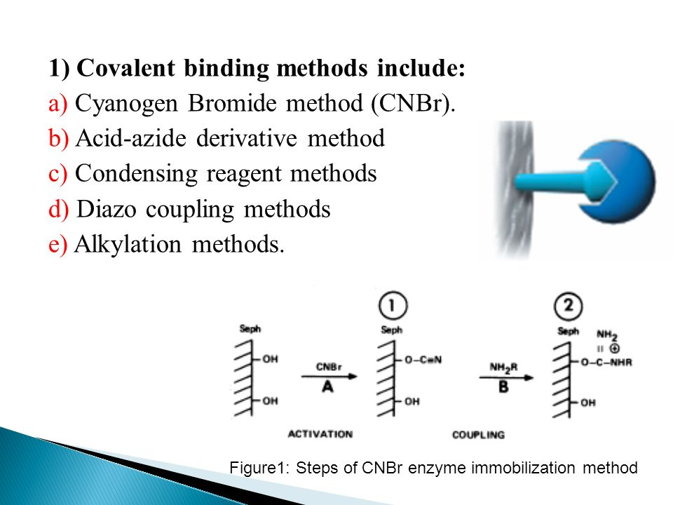 1) Covalent binding methods include: