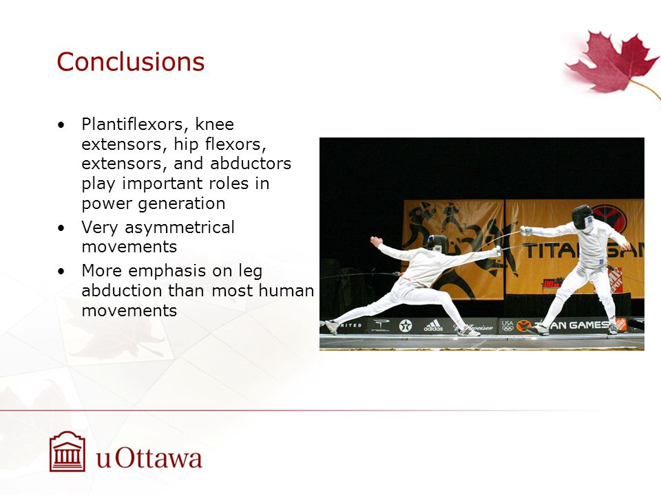 Conclusions Plantiflexors, knee extensors, hip flexors, extensors, and abductors play important roles in power generation.
