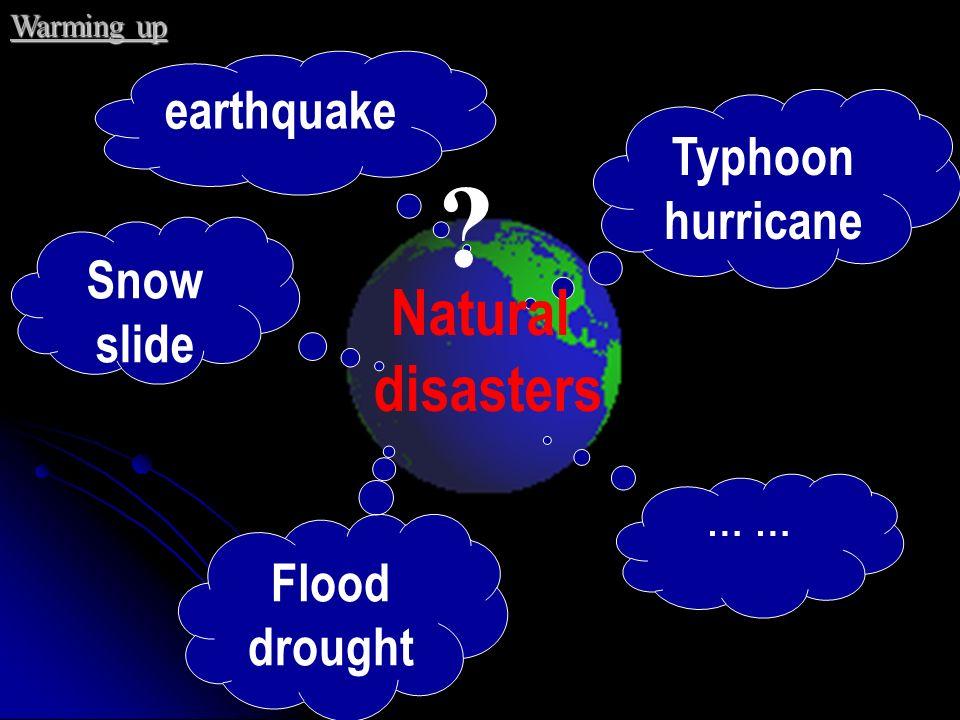 Natural disasters earthquake Typhoon hurricane Snow slide Flood