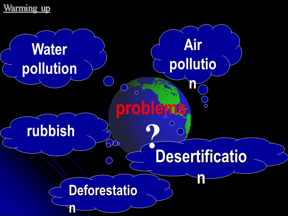 problems Desertification Air pollution Water pollution rubbish