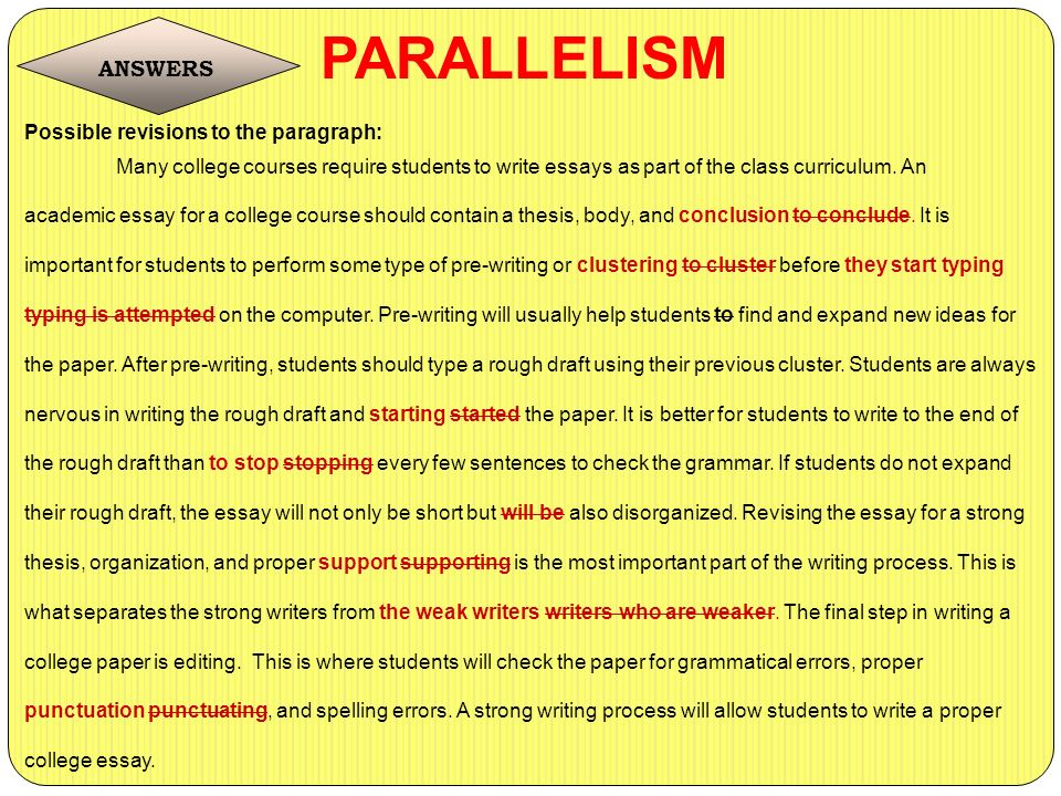 """parallelism in writing essays (for more information on parallel structure, see chapter 7 """"refining your writing: how do i improve my writing technique"""") here is the topic outline that mariah constructed for the essay she is developing."""