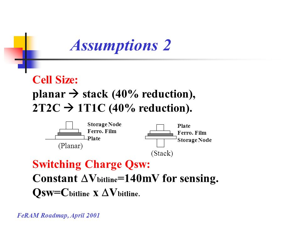 Assumptions 2 Cell Size: planar  stack (40% reduction),