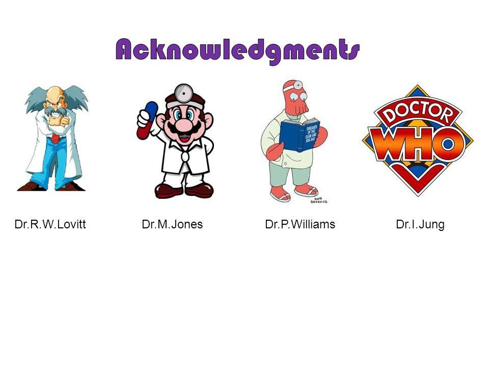 Acknowledgments Dr.R.W.Lovitt Dr.M.Jones Dr.P.Williams Dr.I.Jung