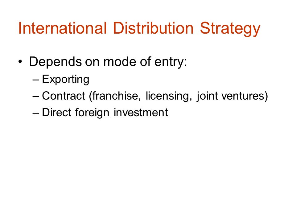 Modes of Entry into International Markets (Place)