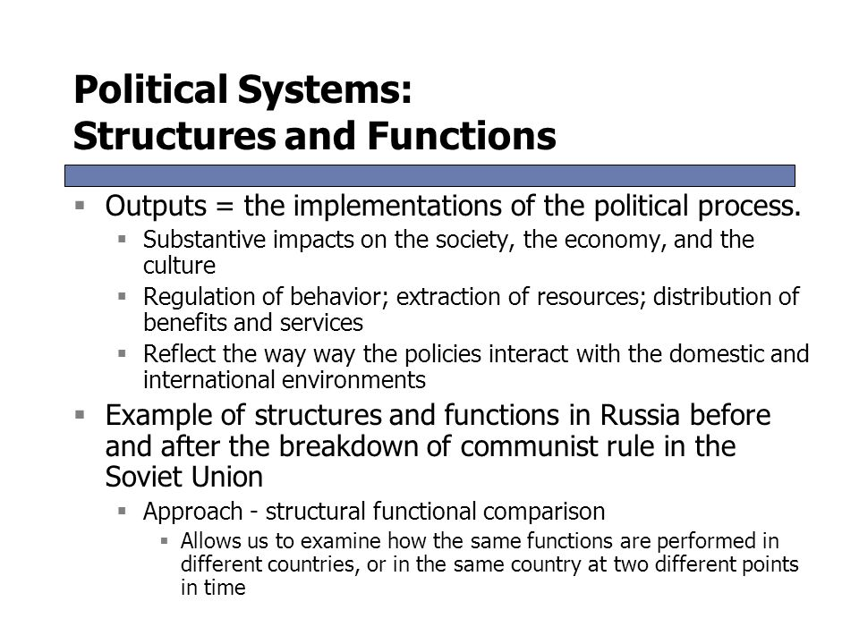 political systems and their functions in Introduction although the greeks might claim that democracy originates from the ancient city state of athens, the french could plausibily argue that modern democracy emanates from the french revolution of 1789 - although the course of democracy in france has hardly run smoothly since then.