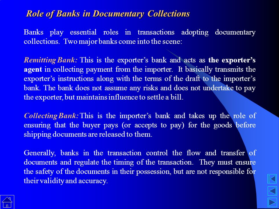 documentary credit involvement and role of Xl/c or documentary credit although globalisation has influenced patterns of world  thereby by-passing the involvement of an advising bank the problem with this.