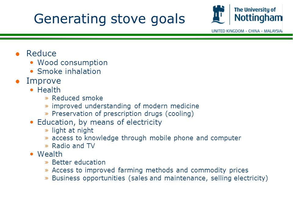 Generating stove goals
