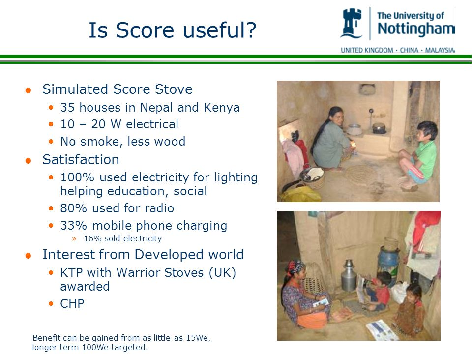 Is Score useful Simulated Score Stove Satisfaction