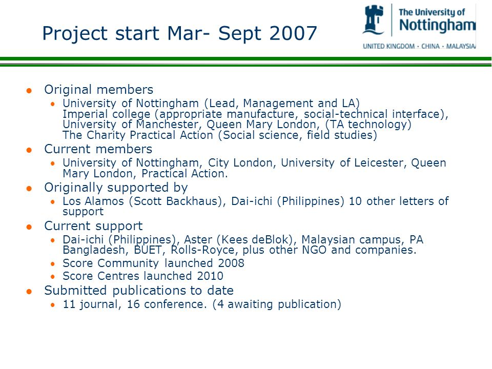 Project start Mar- Sept 2007