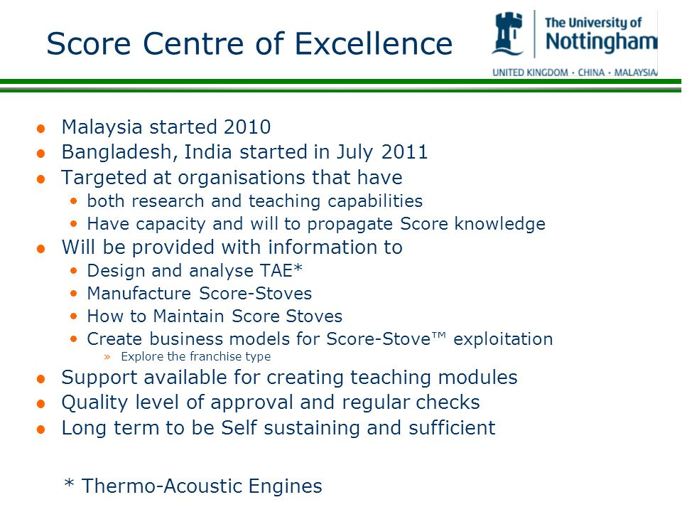 Score Centre of Excellence