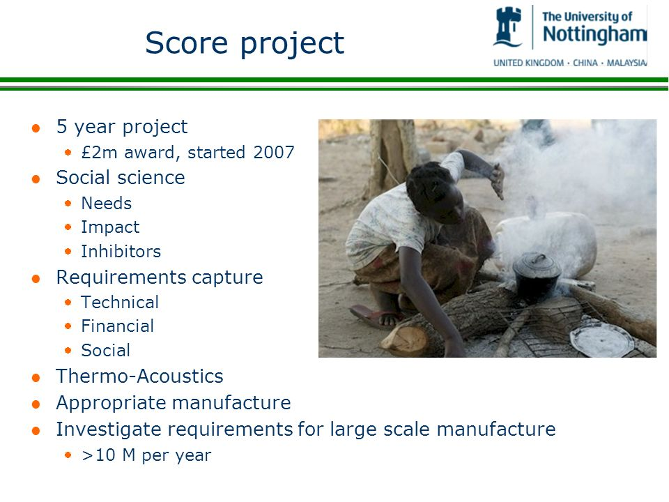 Score project 5 year project Social science Requirements capture