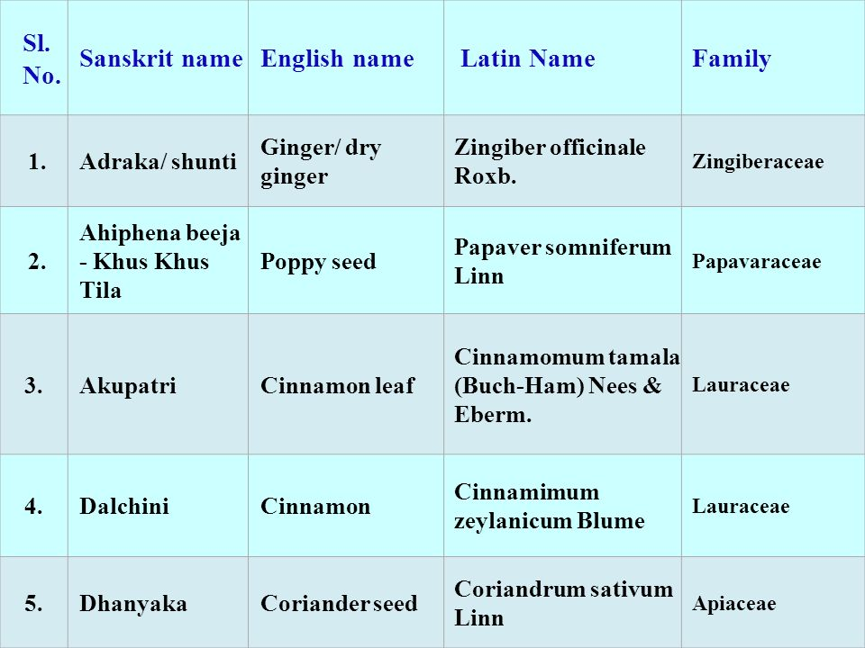 Sl. No. Sanskrit name English name Latin Name Family 1. Adraka/ shunti