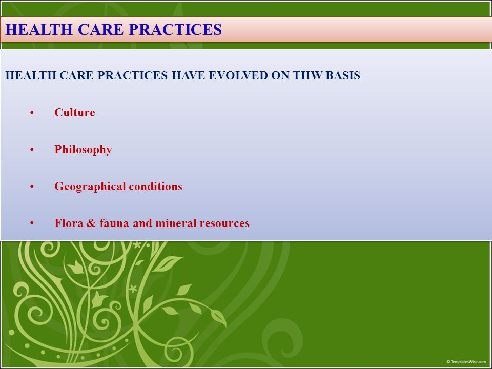 HEALTH CARE PRACTICES HEALTH CARE PRACTICES HAVE EVOLVED ON THW BASIS
