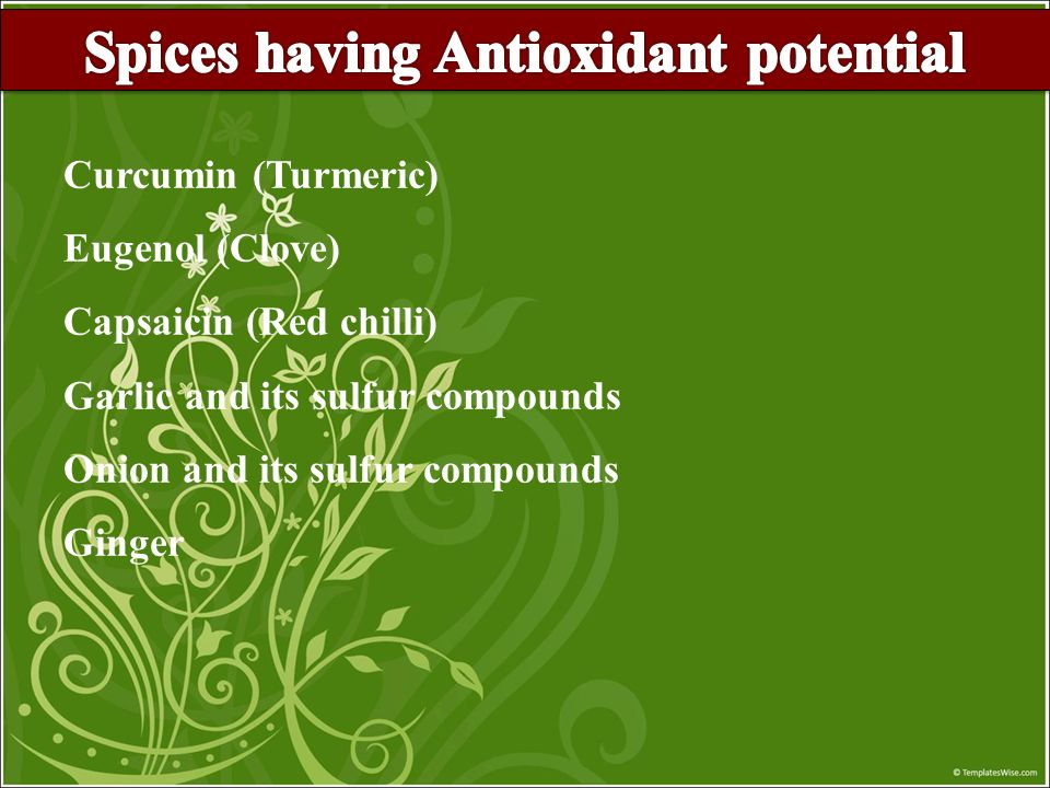 Spices having Antioxidant potential