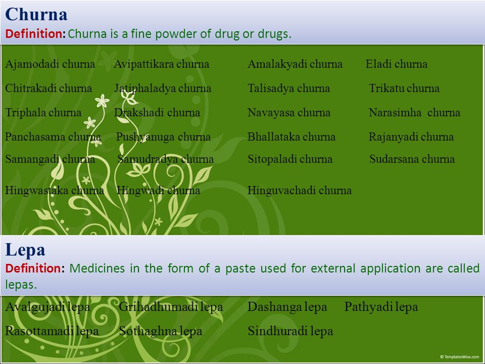 Churna Lepa Definition: Churna is a fine powder of drug or drugs.