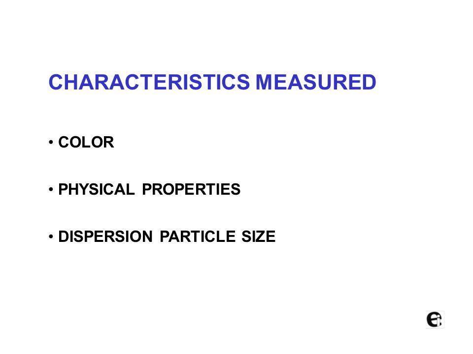 CHARACTERISTICS MEASURED