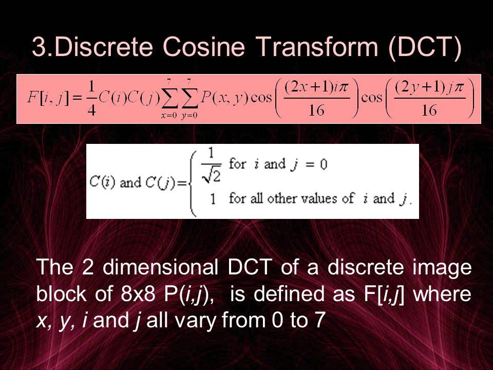 3.Discrete Cosine Transform (DCT)