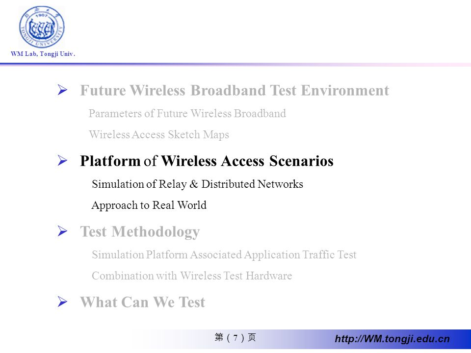 Future Wireless Broadband Test Environment