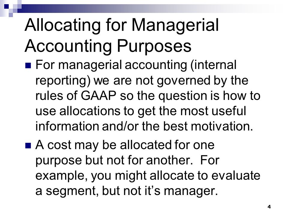 purpose of accounting for an organisation The role of management accounting in the organization the purpose of management accounting in the organization is to support competitive decision making by collecting, processing, and communicating information that helps management plan, control, and evaluate business processes and company strategy.