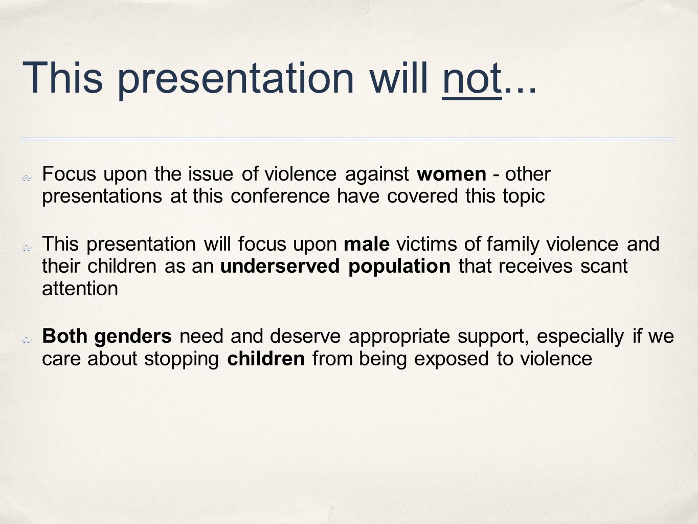 This presentation will not...