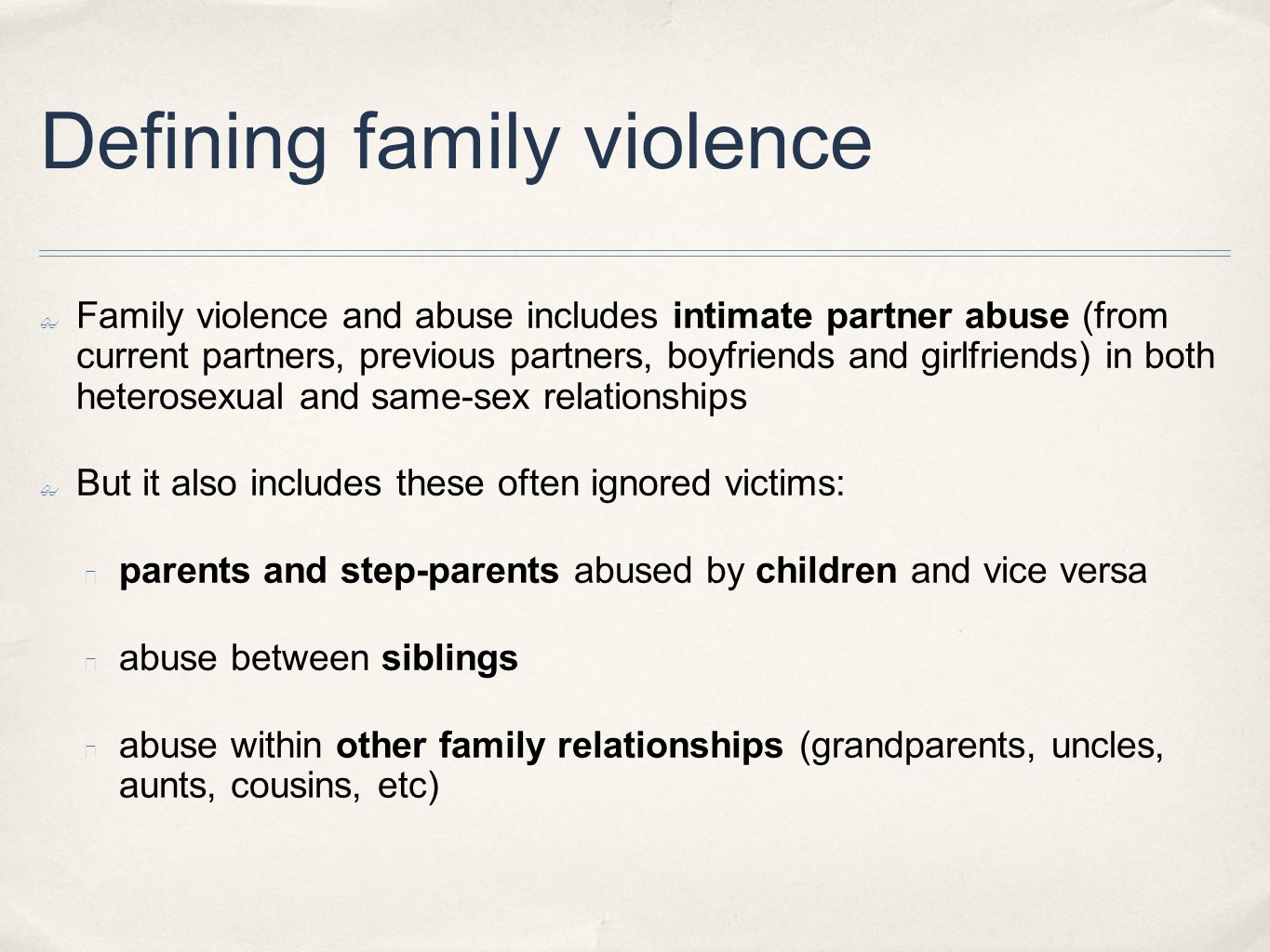 Defining family violence