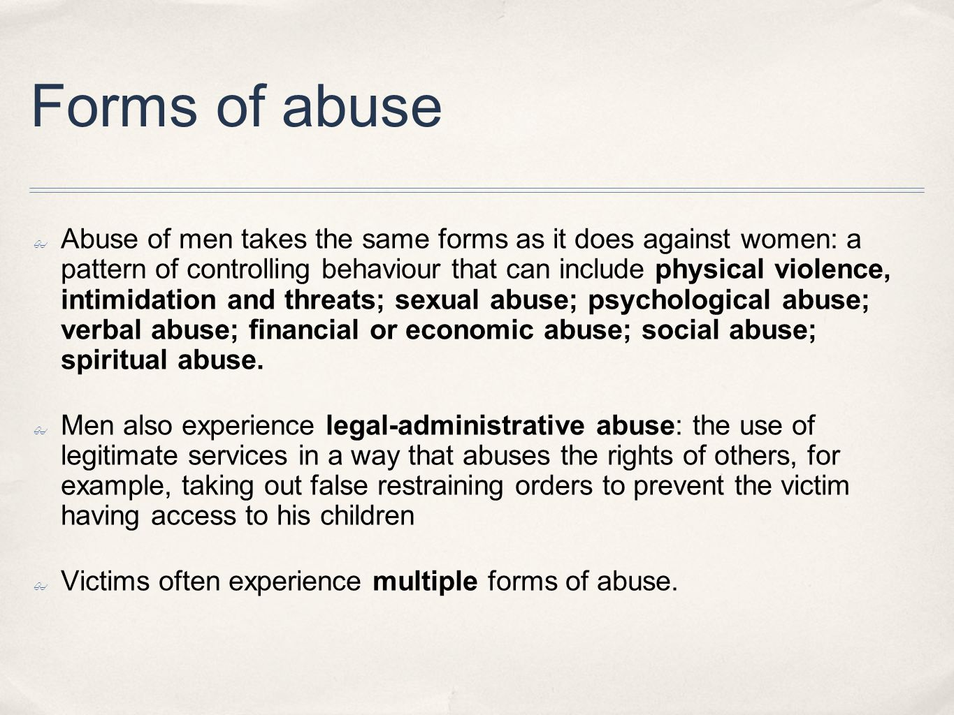Forms of abuse