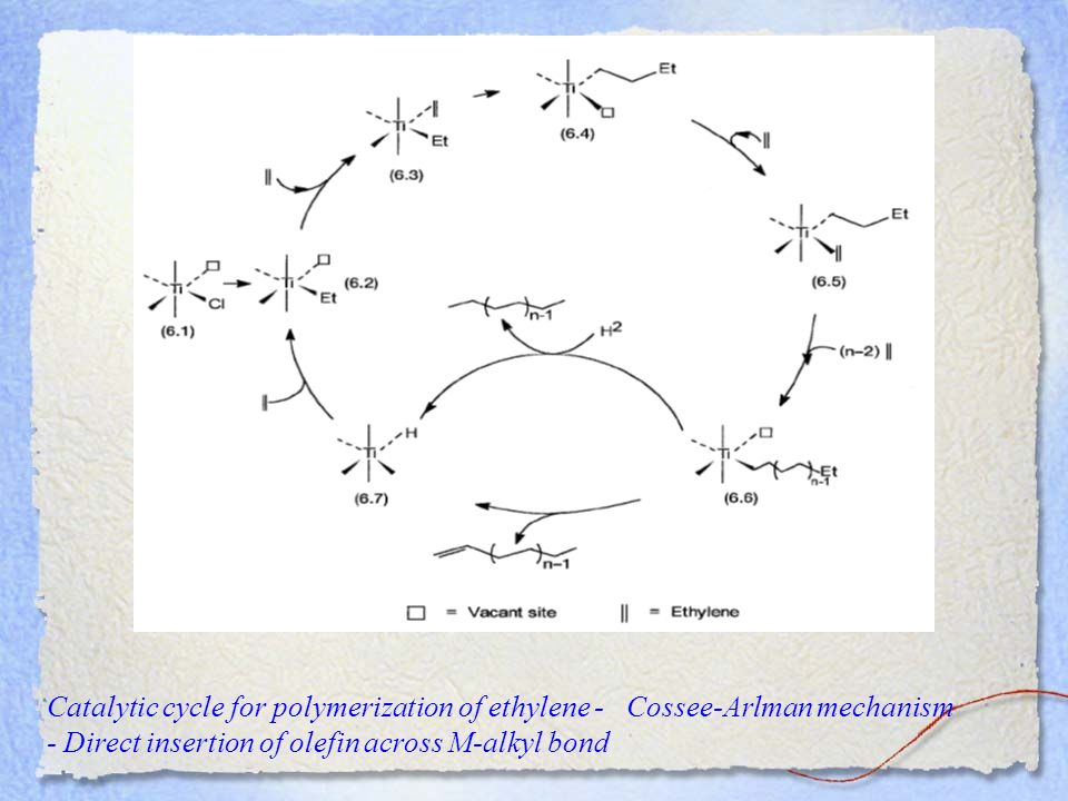 Catalytic cycle for polymerization of ethylene - Cossee-Arlman mechanism