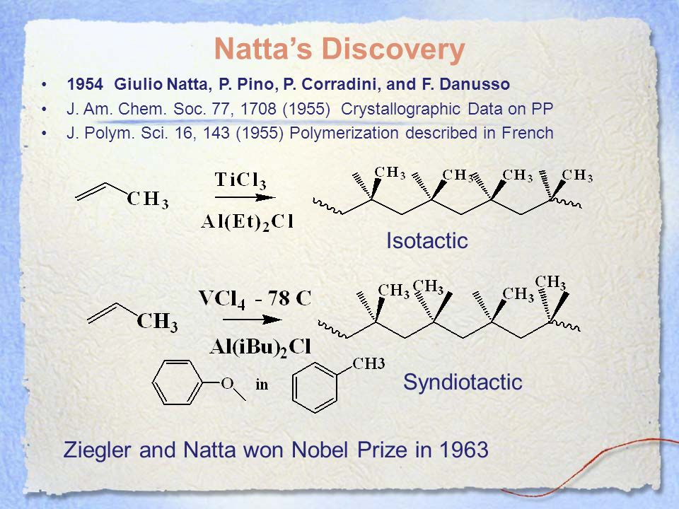Natta's Discovery Isotactic Syndiotactic