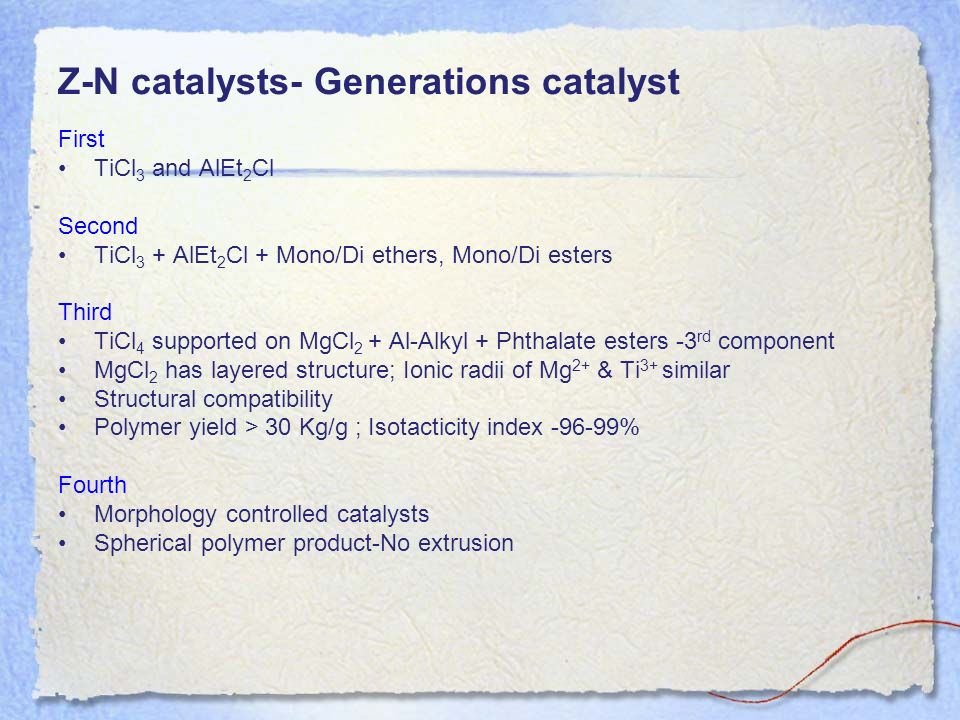 Z-N catalysts- Generations catalyst