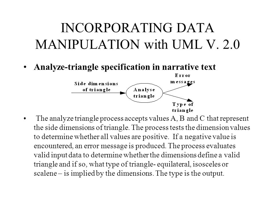 INCORPORATING DATA MANIPULATION with UML V. 2.0
