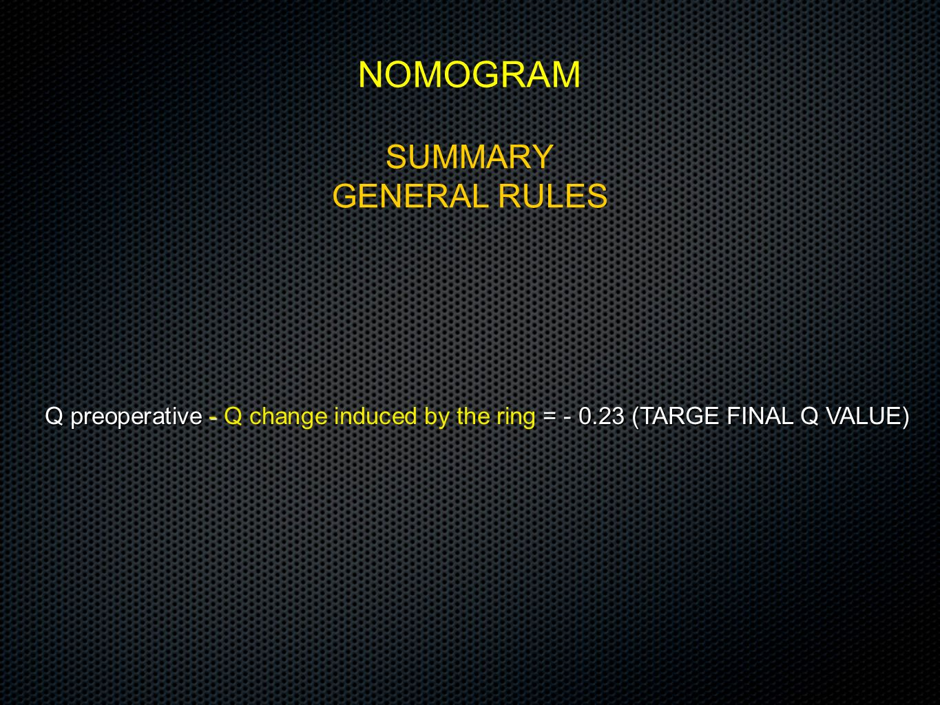 NOMOGRAM SUMMARY GENERAL RULES