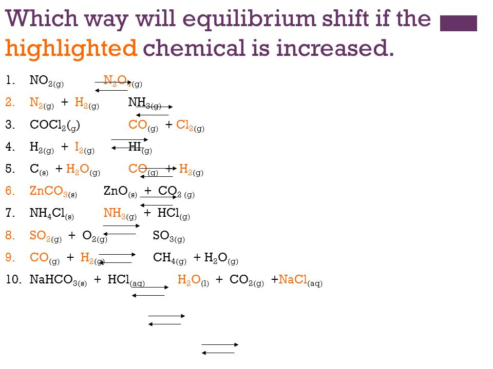 hydrogen and equilibrium shift Answer to part a if the reaction n2(g)+3h2(g)⇌2nh3(g) is at equilibrium, what direction will the reaction shift if nh3 gas is ad.