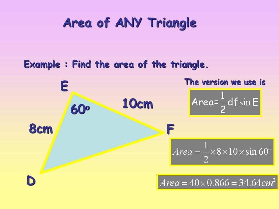 Area of any triangle b a c c b a if you know c a and b ppt download 3 example find the area of the triangle ccuart Choice Image